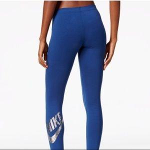 Blue Nike Metallic Logo Leggings